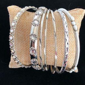 New American Eagle Silver Bangle Bracelet Set NWT